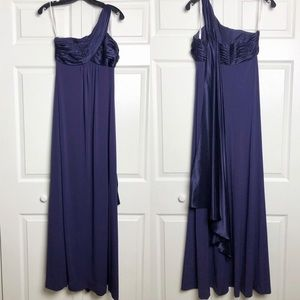 David's Bridal Plum asymmetrical bridesmaids gown